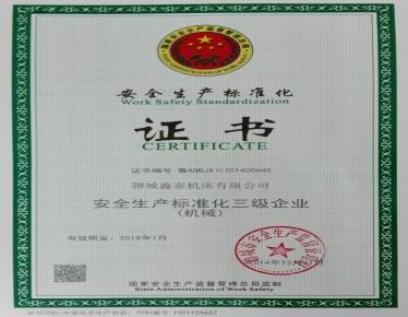 三级安全标准化证书